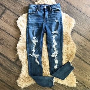 American Eagle Raw Hem Super Distressed Jeans